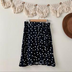 ASOS Black Mini Wrap Skirt in Polka Dot Print